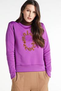 Scotch & Soda sweater met tekst en borduursels lila, Lila