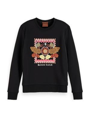 sweater met borduursels zwart/multi