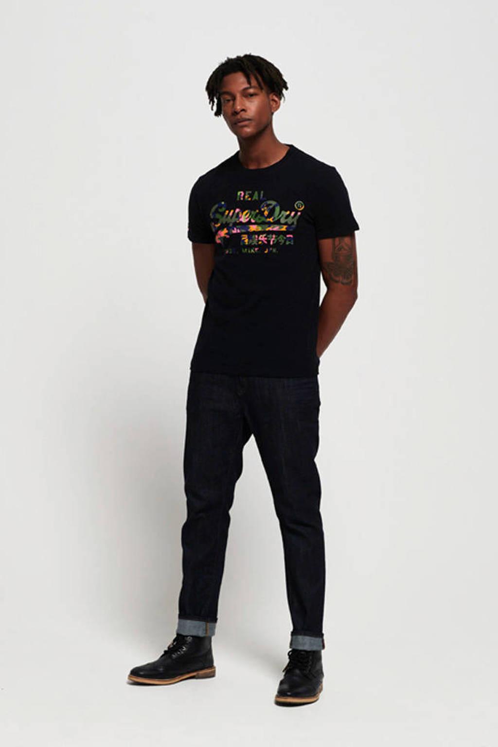 Superdry T-shirt met printopdruk zwart/oranje, Zwart/oranje
