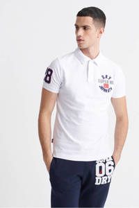 Superdry slim fit polo wit, Wit