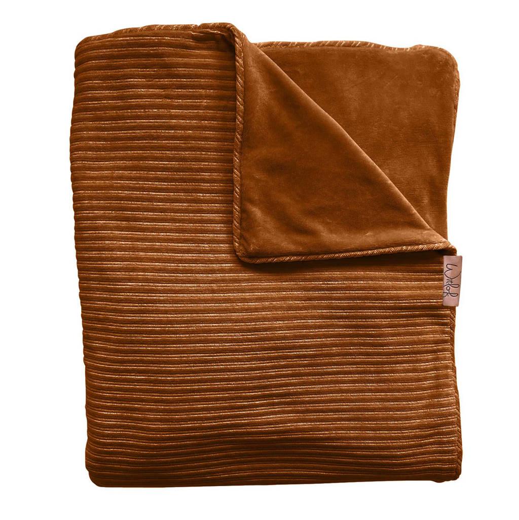 Witlof for kids Tuck-Inn baby ledikantdeken rib velours bruin, Bruin