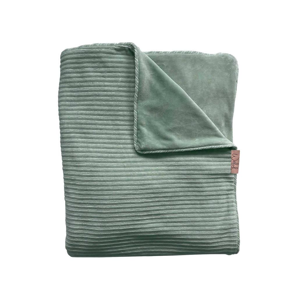 Witlof for kids Tuck-Inn baby wiegdeken rib velours groen, Groen