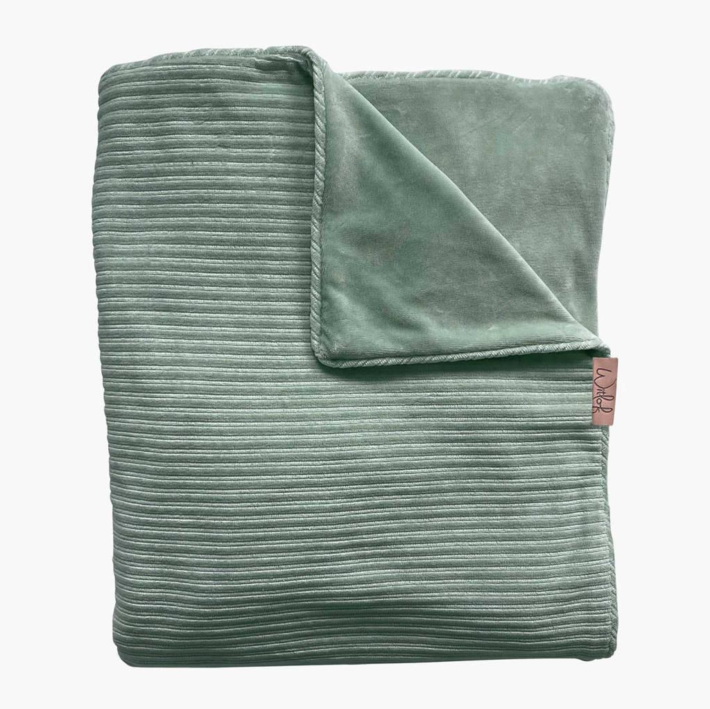 Witlof for kids Tuck-Inn baby ledikantdeken rib velours groen, Groen
