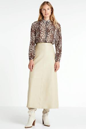 blouse met panterprint bruin