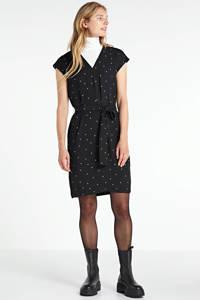 Inwear jurk met all over print en ceintuur zwart, Zwart