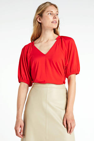 top met ruches rood