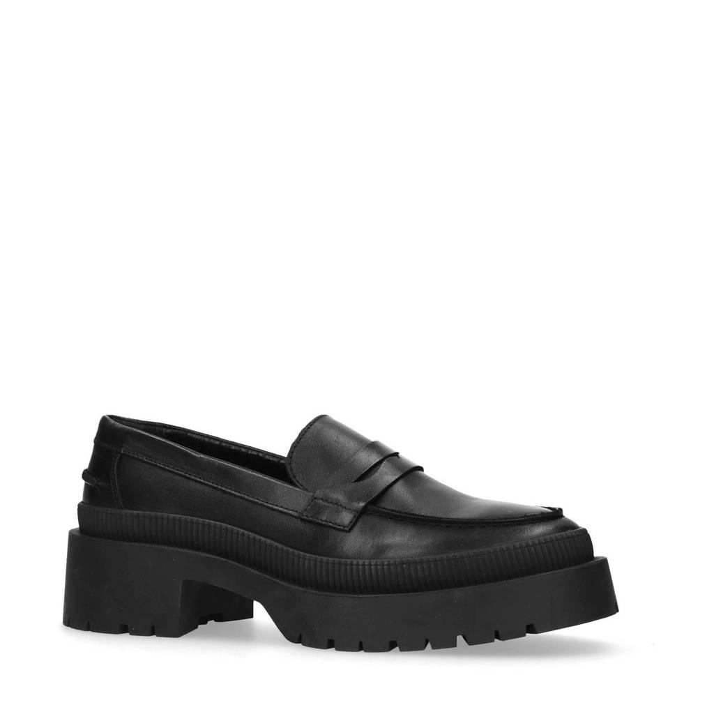 Sacha   leren plateau loafers zwart, Zwart