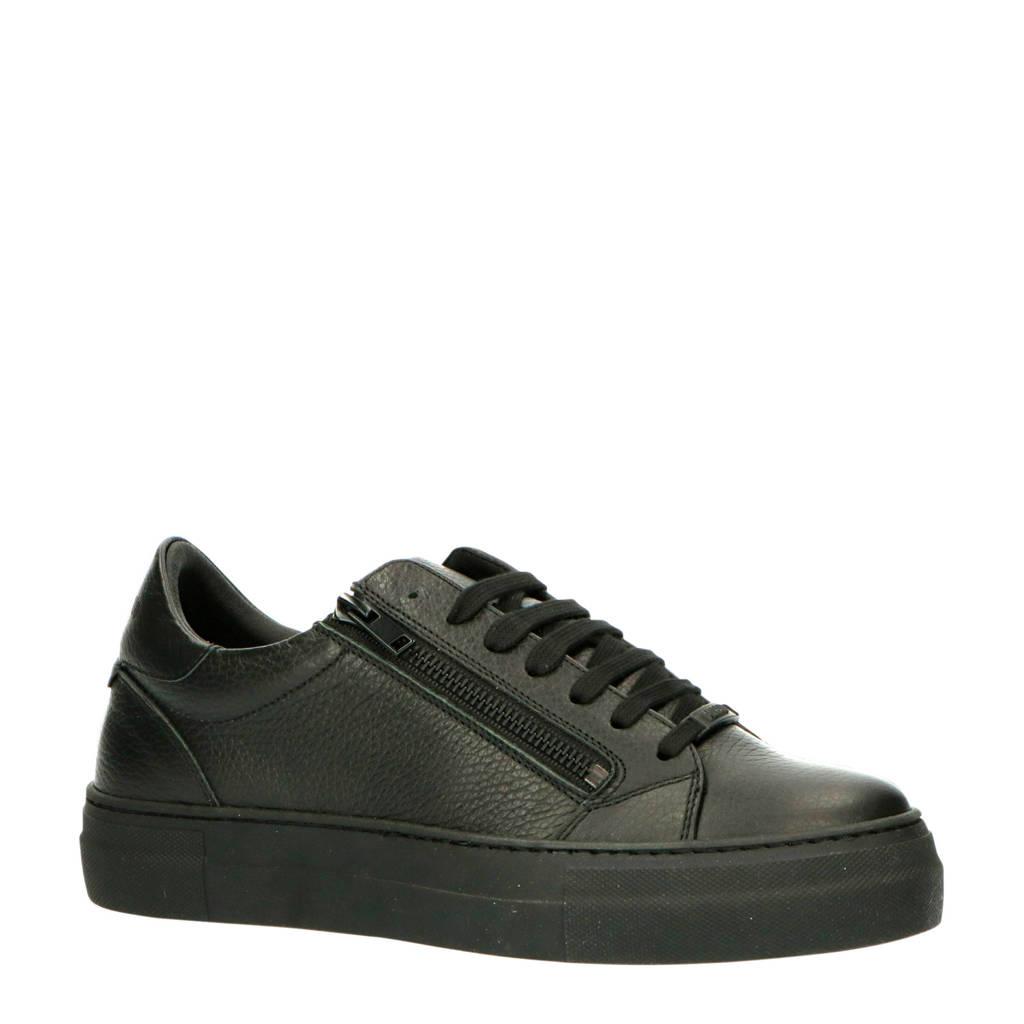 Antony Morato MMFW01331-LE300002  leren sneakers zwart, Zwart