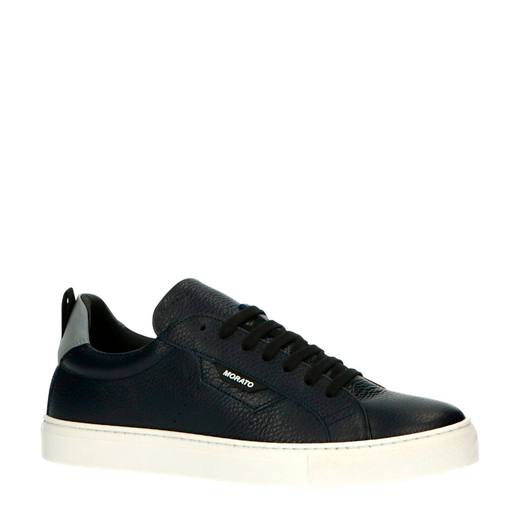 Antony Morato MMFW01335-LE300002  leren sneakers donkerblauw, Donkerblauw