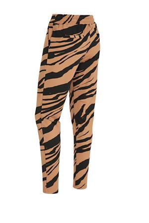 high waist slim fit broek met zebraprint bruin/zwart