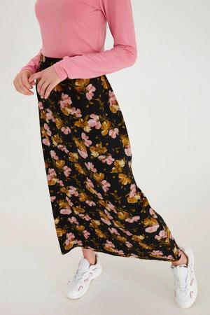 gebloemde rok Vera zwart/roze/bruin