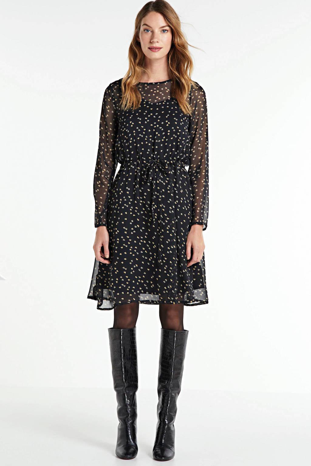 ICHI semi-transparante A-lijn jurk Betty met all over print zwart/goud, Zwart/goud