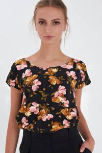 ICHI gebloemd T-shirt Vera zwart/roze/oranje, Zwart/roze/oranje