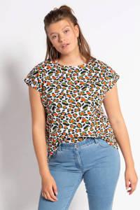 Studio Untold T-shirt met dierenprint wit/rood/groen, Wit/rood/groen