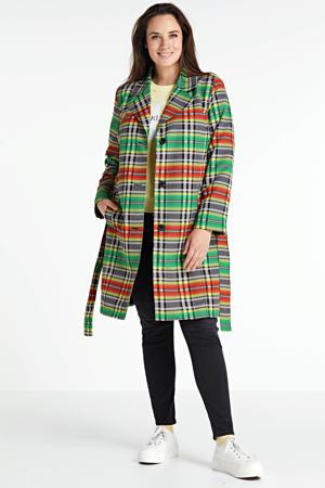 geruite trenchcoat groen/oranje/multi