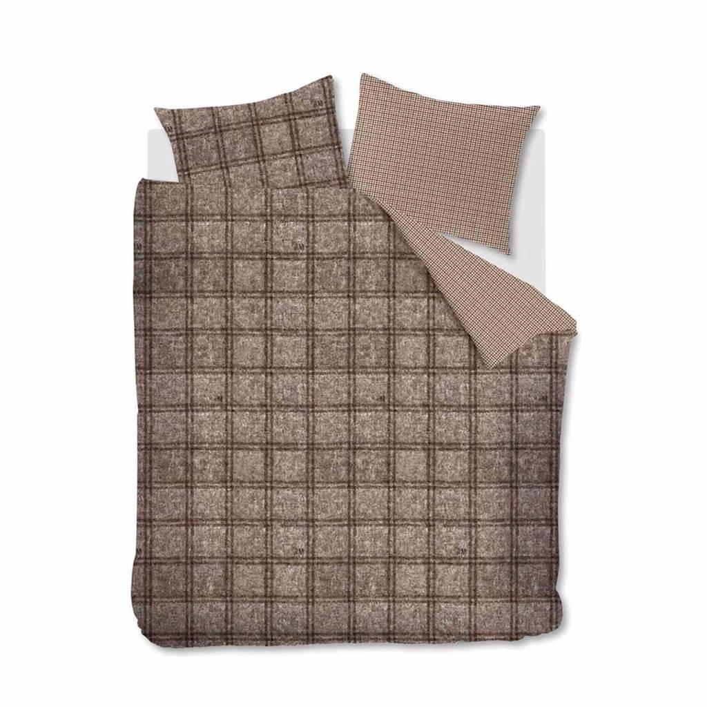 Riviera Maison flanellen dekbedovertrek lits-jumeaux, Bruin, Lits-jumeaux (240 cm breed)