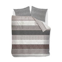 Riviera Maison katoenen dekbedovertrek lits-jumeaux, Antraciet, Lits-jumeaux (240 cm breed)