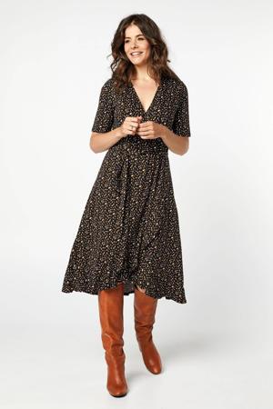 maxi jurk met all over print en ruches zwart/wit/bruin