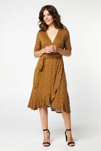 Miss Etam Regulier maxi jurk met all over print en ruches geel/zwart/wit, Geel/zwart/wit