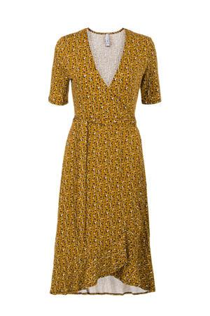 maxi jurk met all over print en ruches geel/zwart/wit
