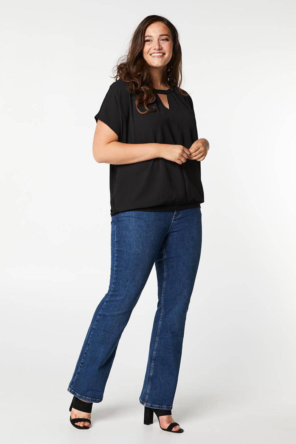 Miss Etam Plus top met plooien zwart, Zwart