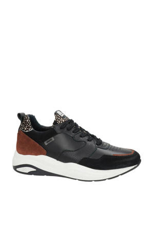 Faro  leren sneakers zwart/dierenprint