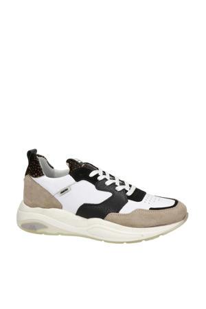 Faro  leren sneakers wit/zwart/beige