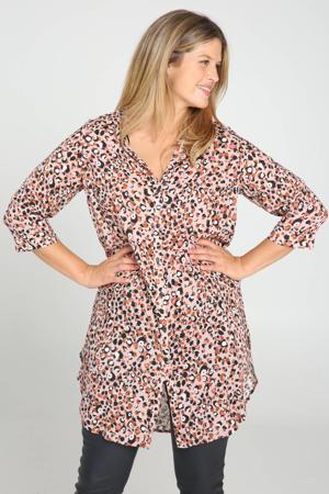 blouse met all over print roze en zijsplitten