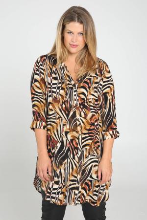 blouse met all over print camel/multi