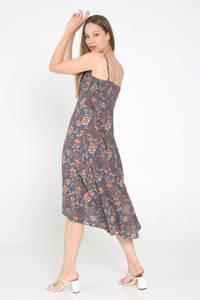 Cassis A-lijn jurk met all over print marine/rood/roze, Marine/rood/roze