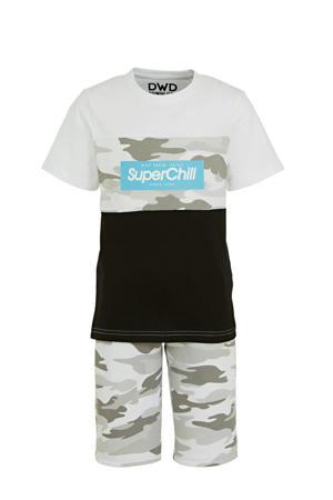 short + shirt wit/grijs/zwart