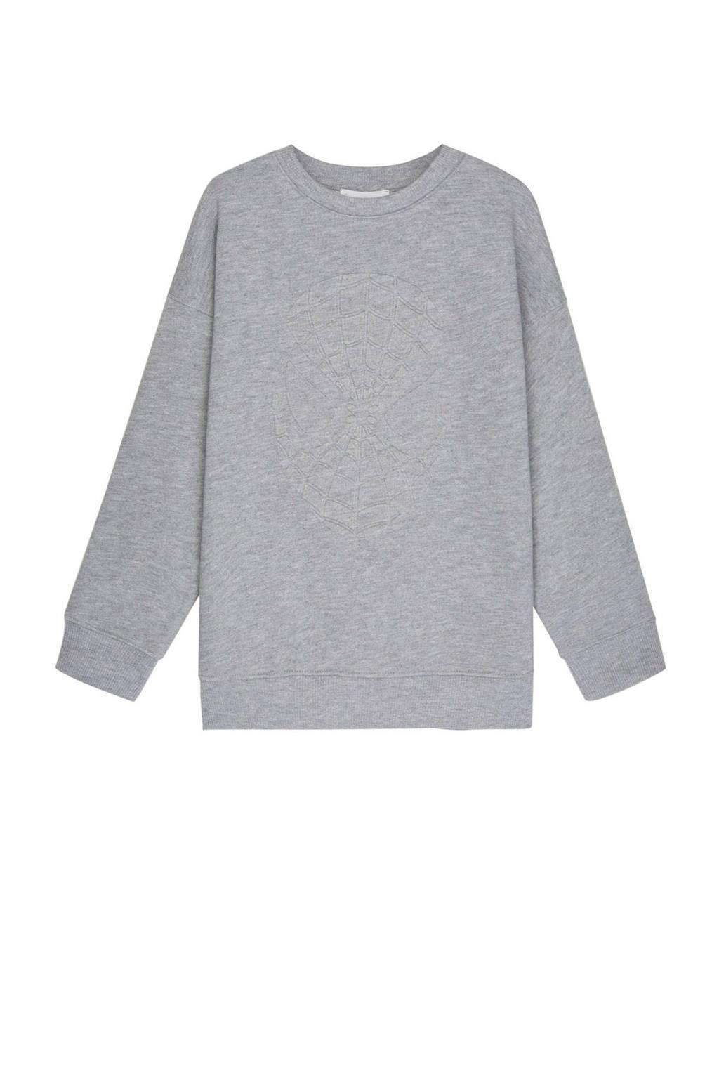 Mango Kids Spider-Man sweater met 3D applicatie grijs, Grijs