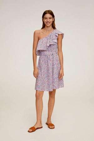 gebloemde off shoulder jurk lila
