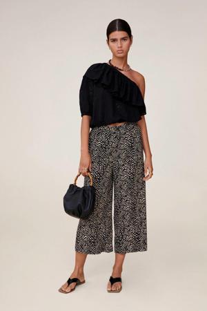 high waist culotte met all over print zwart/beige