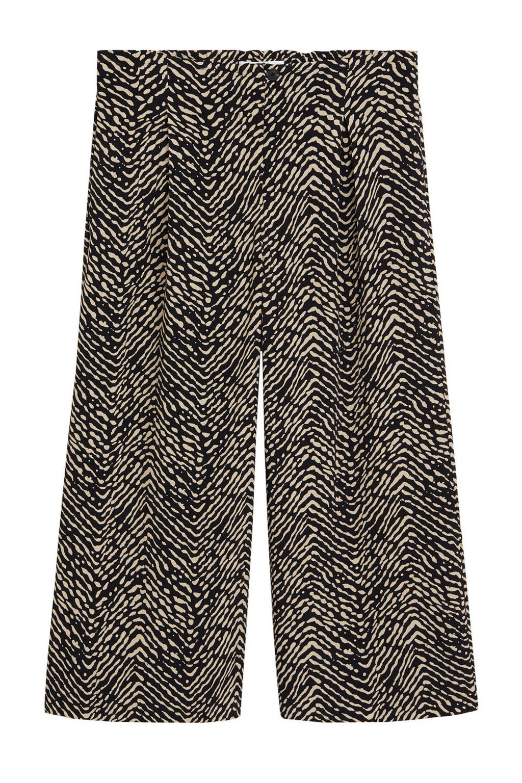Mango high waist culotte met all over print zwart/beige, Zwart/beige