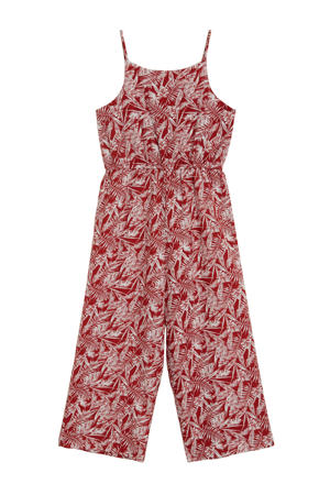 jumpsuit met all over print rood/ecru