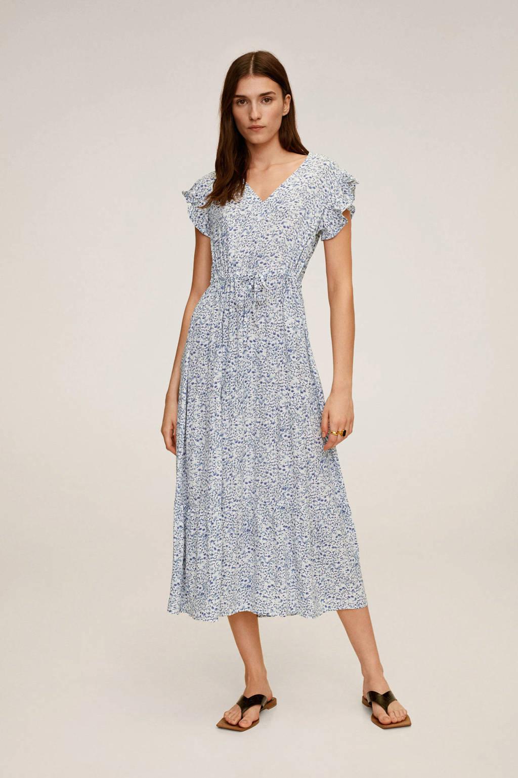 Mango gebloemde jurk blauw, Blauw