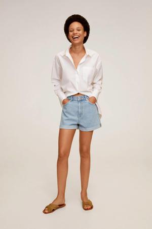 high waist straight fit jeans short light blue denim