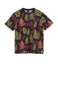 Scotch & Soda T-shirt met bladprint zwart/groen/roze, Zwart/groen/roze