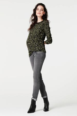 zwangerschapslongsleeve met all over print donkergroen/zwart
