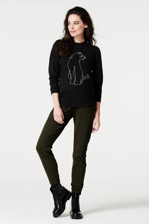 zwangerschapssweater met printopdruk zwart/wit