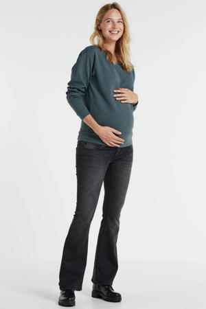 low waist flared zwangerschapsjeans dark denim