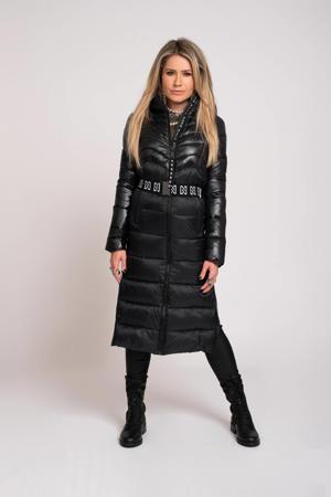 gewatteerde jas Aria met ceintuur zwart