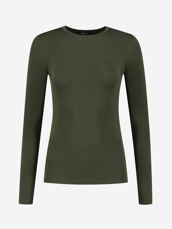 NIKKIE basic longsleeve Jolie met logo groen, Groen