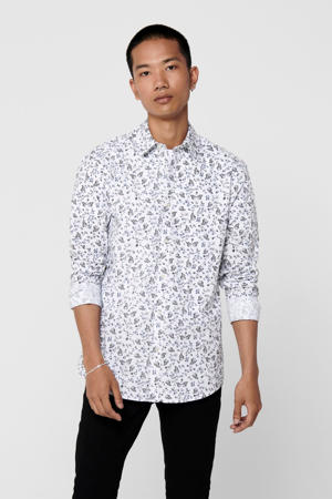 gebloemd overhemd wit