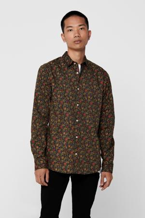 gebloemd overhemd olijfgroen/rood
