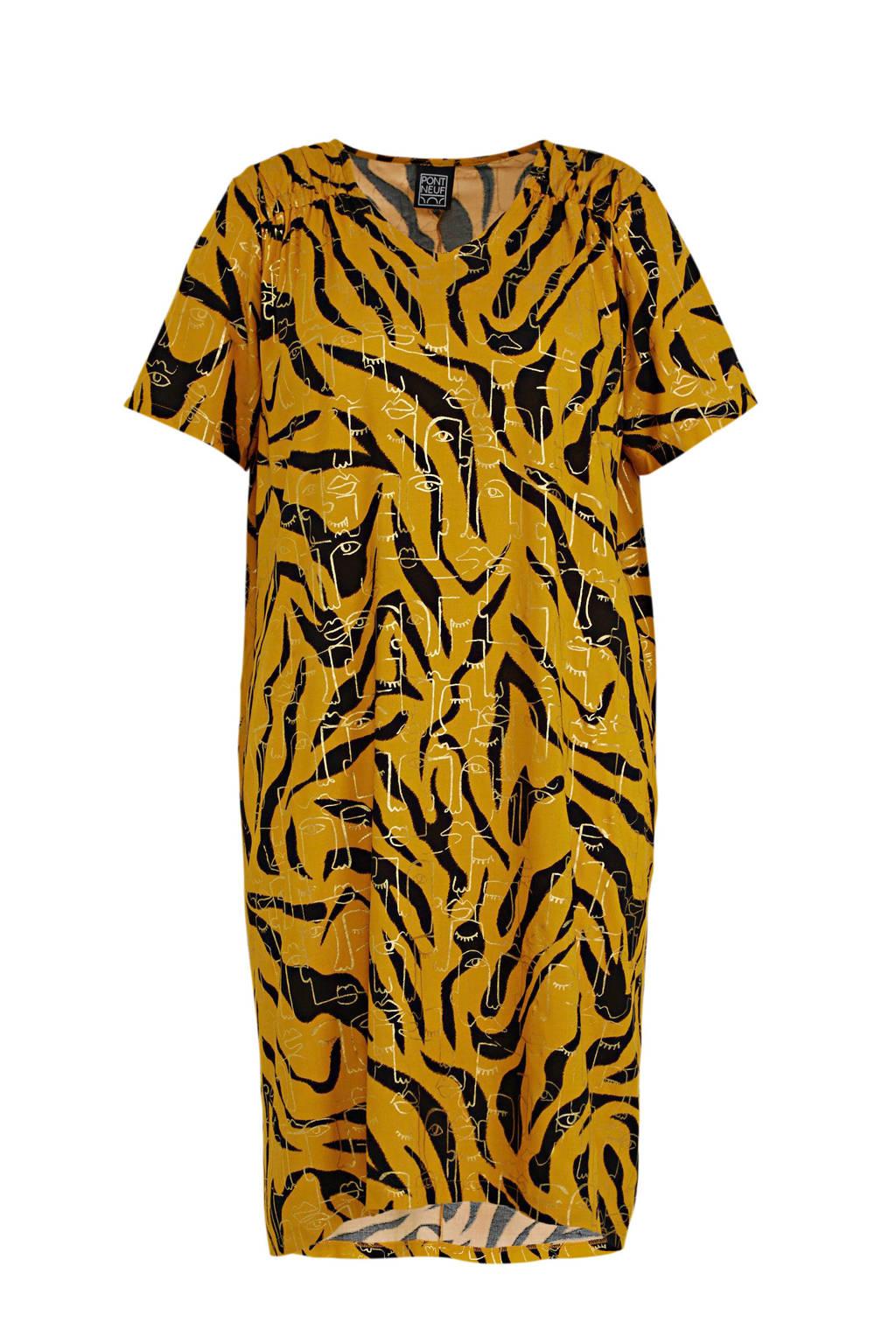 PONT NEUF jurk Ally met all over print geel/zwart, Geel/zwart