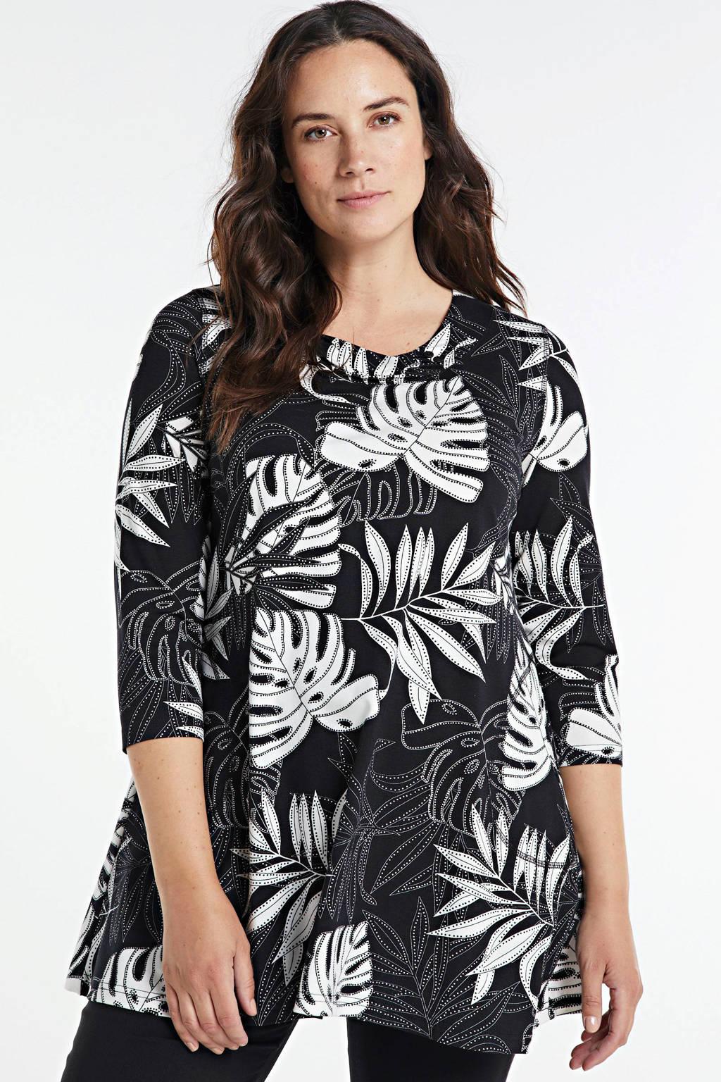 PONT NEUF tuniek Rina met all over print zwart/wit, Zwart/wit