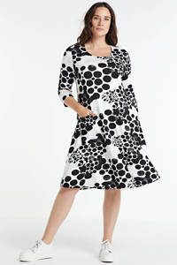 PONT NEUF jurk Kitty met all over print zwart/wit, Zwart/wit