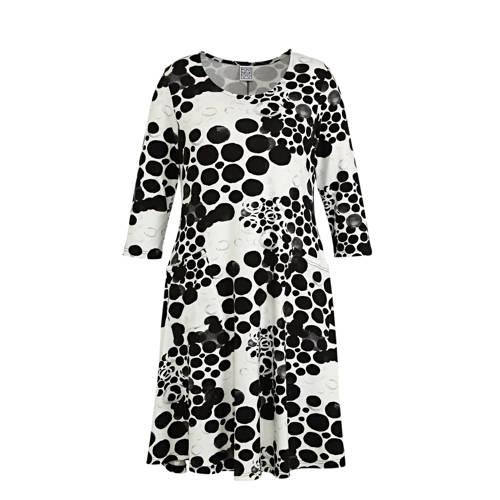 PONT NEUF jurk Kitty met all over print zwart wit